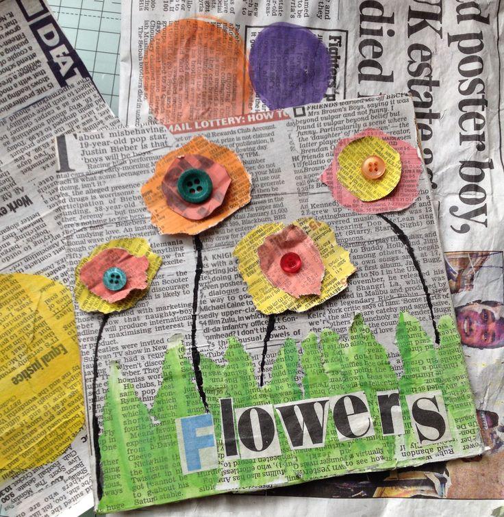 Askartelua koulussa Liima/vesiseoksella vanhan kirjan kanteen sanomalehtipaloja. Vesiväreillä sanomalehteen palloja, joista revitään kukat ja liimataan pohjaan. Basteln mit Kindern- kids crafts
