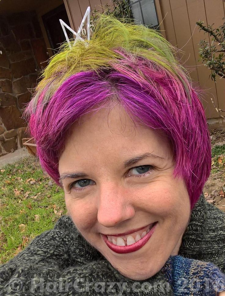 My version of Christmas hair! NLeigh -   - Brite Yellow   - Directions Alpine Green   - Directions Dark Tulip   - Red  (Ion Color Brilliance)   - Special Effects Cherry Bomb