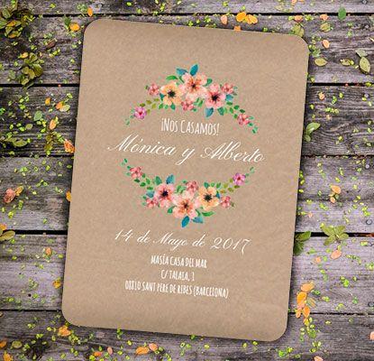Invitaciones Wildflowers Kraft