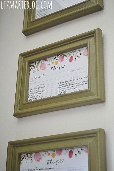 DIY framed recipe cards - would look cute in kitchen and easy to access the recipes I use all the time!