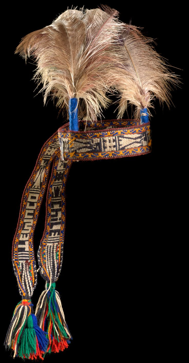 Chile ~ Trumpulo Chico | Mapuche head ornament; Wool, ostrich feathers | ca. 1975 | This headdress is worn during the Choyke Purun, or Ostrich Dance, during the Ngillatun (Pleading Ceremony) and Machitun (Healing Ceremony).