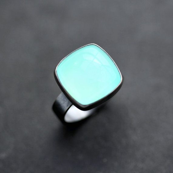 Aqua Chalcedony Ring Seafoam Blue Green Chalcedony by TheSlyFox, $115.00
