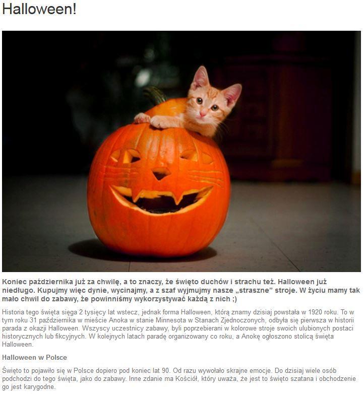Wielkimi krokami zbliża się kontrowersyjne Halloween, a na blogu Promocyjnych kilka słów o historii tego święta oraz typowych dla niego zabawach. Może warto przestraszyć się na chwilę? ;) http://www.promocyjni.pl/blog/zobacz/7084-halloween-