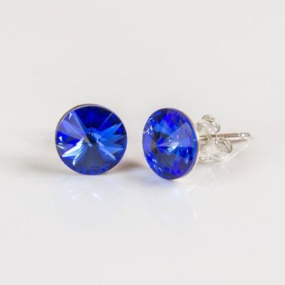 Swarovski Rivoli Earrings 8mm Sapphire  Dimensions: length:1,5cm stone size: 8mm Weight ~ 1,15g ( 1 pair ) Metal : sterling silver ( AG-925) Stones: Swarovski Elements 1122 SS39 ( 1122 8mm ) Colour: Sapphire 1 package = 1 pair Price 9.90 PLN( about`2,5 EUR)