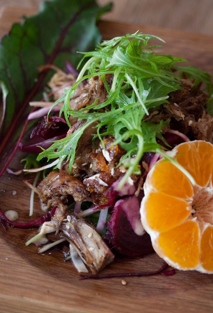 Duck salad with walnut praline and naartjies from Hemlehuijs Cape Town