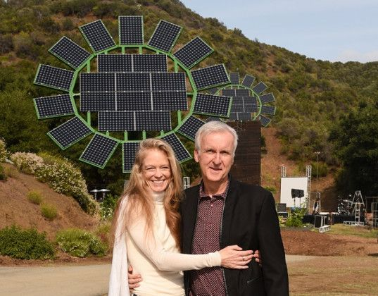 James Cameron gifts his wife five giant solar Sun Flowers to power her sustainable SoCal school | Inhabitots