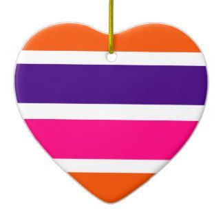 Neon Orange, Purple and Hot Pink Stripe  Heart Ornament  #valentine