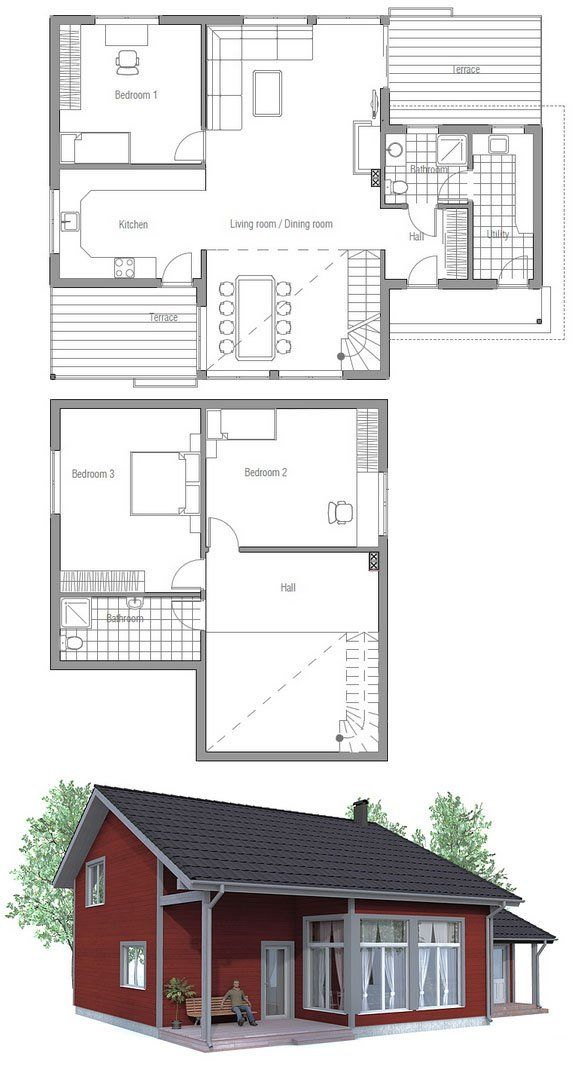 Small house plan to narrow lot High ceiling covered