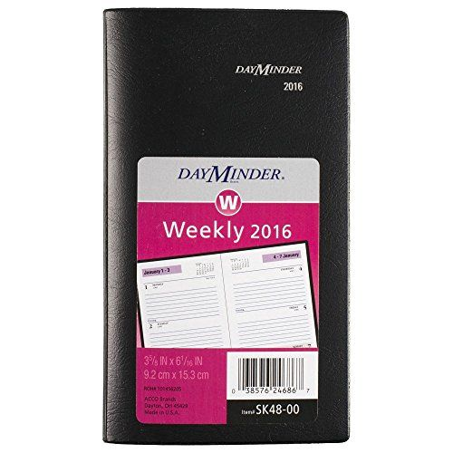 DayMinder Weekly Pocket Planner 2016, 3-5/8 x 6-1/16 Inches Page Size, Black (SK480016) by DayMinder