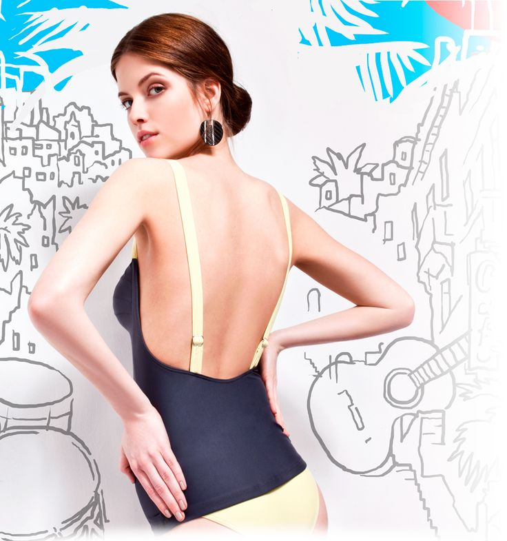 Low-back one-piece design bathing suit @pelsoswimwear with Stark Attila graphic design