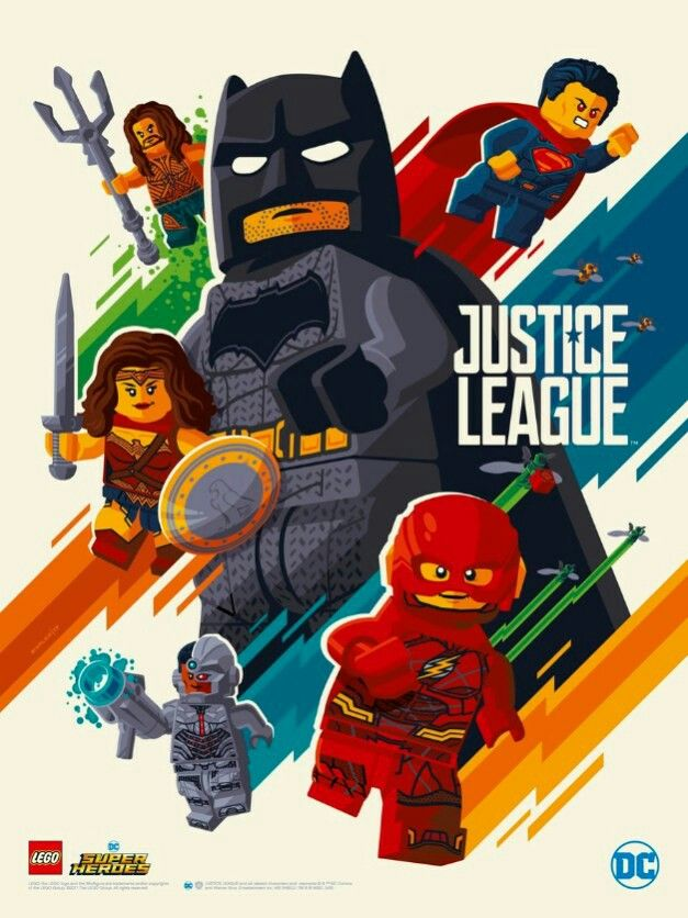 Justice League in LEGO style; made by Tom Whalen. #unitetheleague