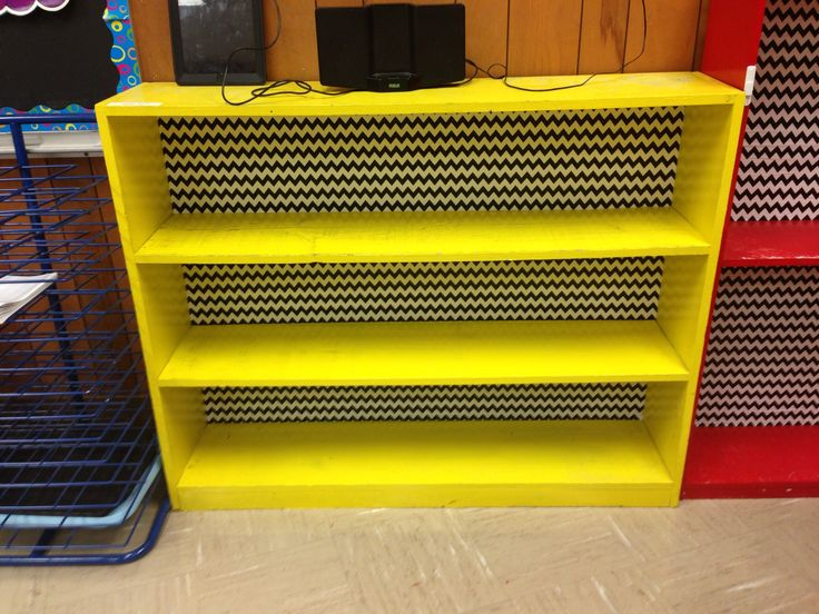 Chevron backed bookshelf for my classroom!!  Thanks Mom!!  We used wrapping paper and applied it with spray adhesive.  Once it dried we went over it with mod podge.
