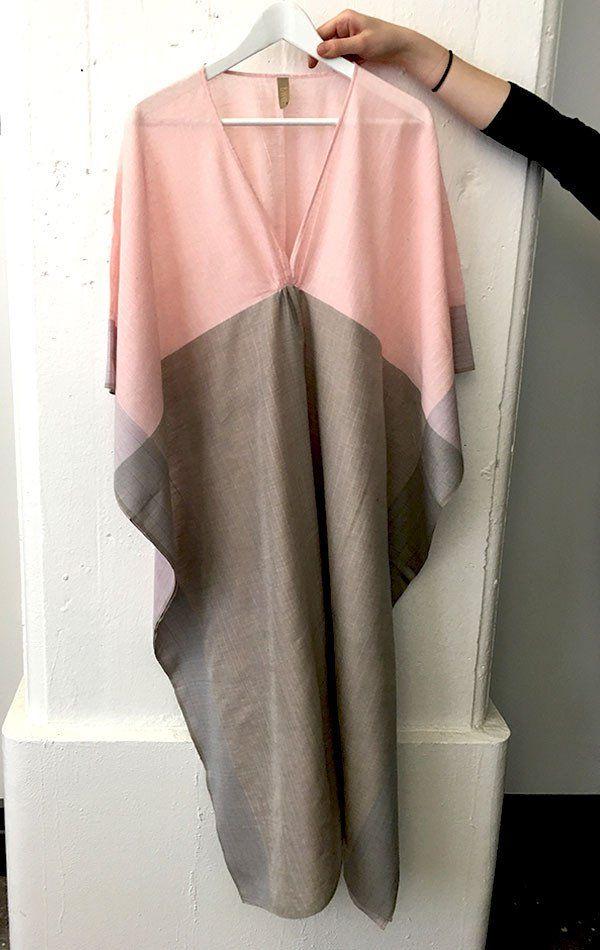 Pink and grey khadi caftan