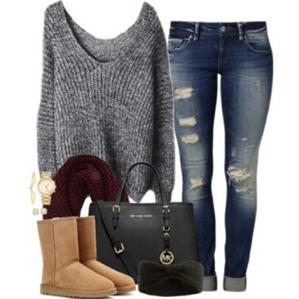 UGG boots and outfits   Sweater: jeans, denim, bag, purse, ruby scarf, ugg boots, boots, style ...