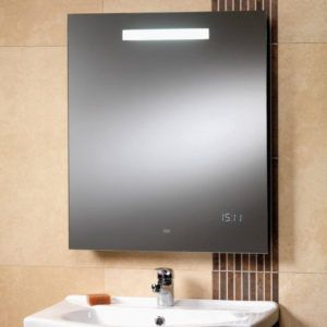 Bathroom cabinet with heated mirror
