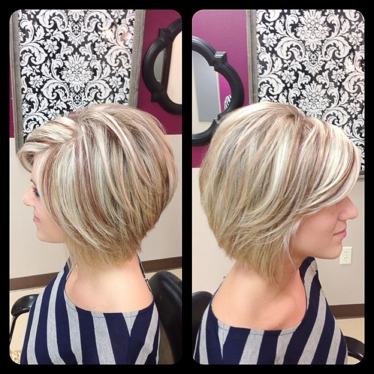 Amber Heater, Gorgeous Hair Salon, Salisbury MD (410)677-4675 Bright blonde highlights with auburn lowlights, inverted bob, stacked with soft layers