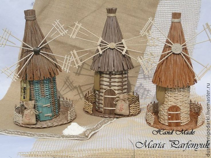 Плетёная мельница - коричневый,соломенный,бирюзовый,подарок мужчине,подарок на любой случай