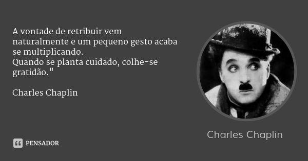 """A vontade de retribuir vem naturalmente e um pequeno gesto acaba se multiplicando. Quando se planta cuidado, colhe-se gratidão."""" Charles Chaplin — Charles Chaplin"""