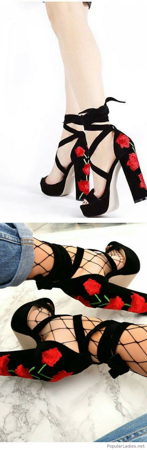 Black vervet sandals with roses and jeans