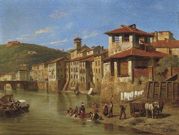 "Jacques Francois Carabain (1834 1933) - ""Veduta dell'Adige verso ponte Pietra a Verona"" - olio s/tela, cm.68 x 89 ."