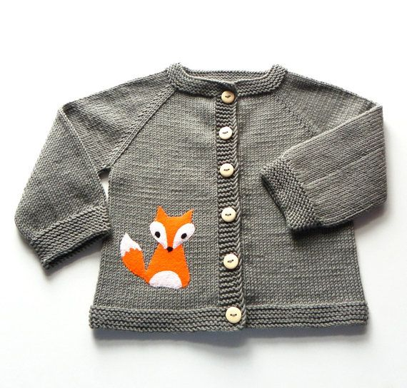 Fox jacket knitted baby jacket dark mushroom gray door Tuttolv