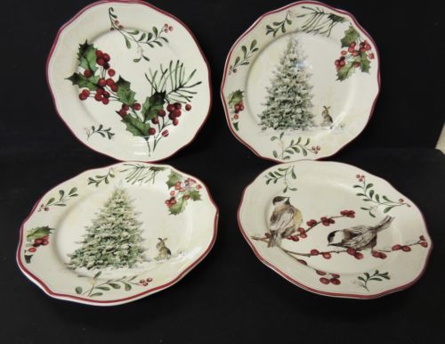 4 Better Homes Gardens Heritage Salad Plates Christmas