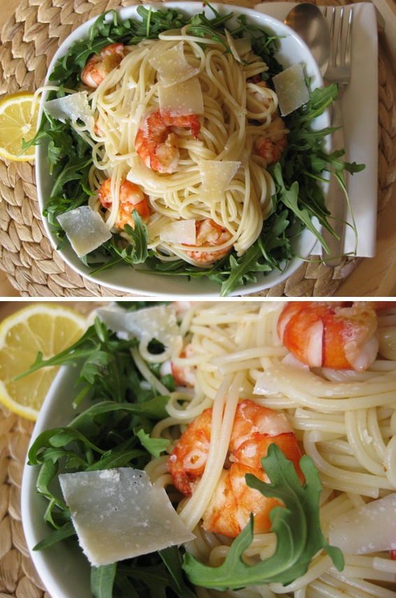 Pasta mit Garnelen, Knoblauch und Zitrone im Rucola-Nest : Pasta with Shrimp, Garlic and Lemon on Arugula.