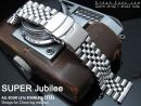 22mm Super Jubilee 316L Stainless Steel Watch Band, Solid Straight End, Diver Clasp