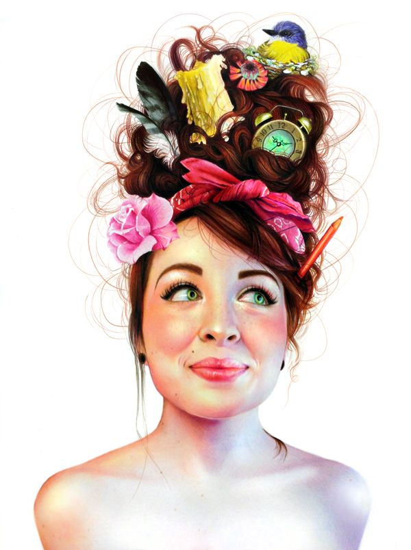What a cool idea for a self portrait!! she incorporated interests in a quirky and beautiful way!  Colored Pencil self portrait 2012 by Morgan Davidson, via Behance
