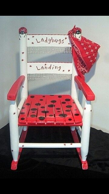 Hand painted ladybug chair idea for the kids. I could easily make something similar to this.
