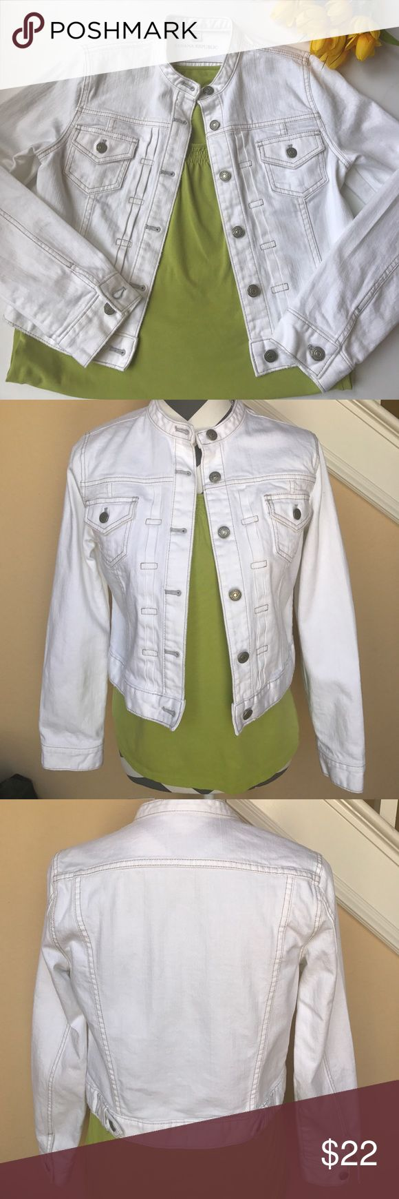 Banana republic stretch denim jacket. Banana republic stretch denim jacket. In good used condition. Has a slight mark on the left arm. Noted in pictures. Not really that visible. Perfect light weight jacket for spring. Banana Republic Jackets & Coats Jean Jackets