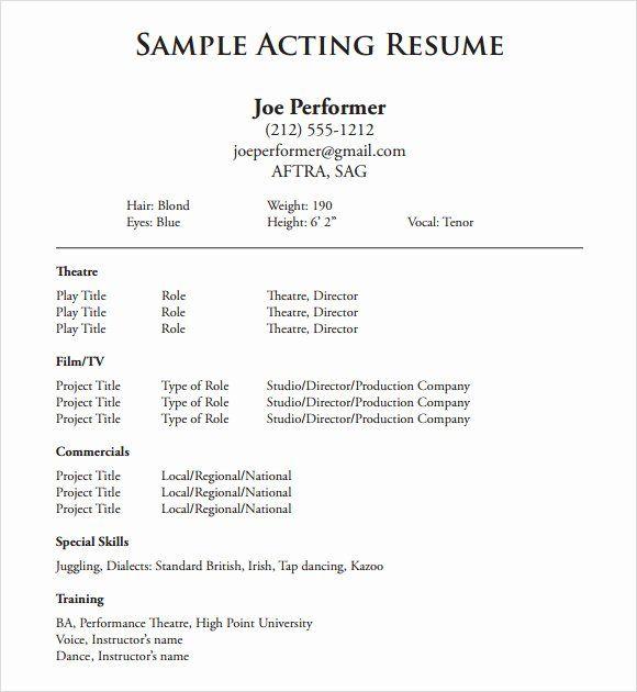 Beginner Actor Resume Template New Free 18 Useful Sample Acting Resume Templates In Pdf In 2020 Acting Resume Template Acting Resume Resume Skills