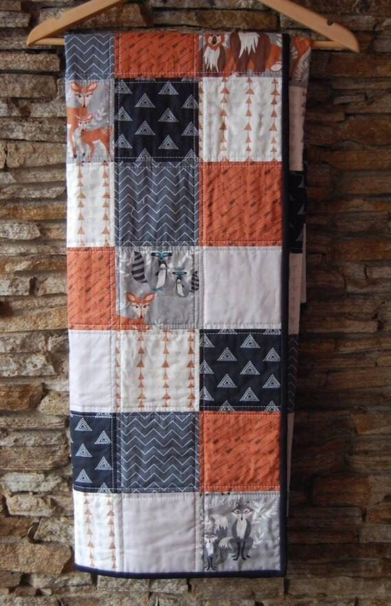 Modern Baby Quilt, Baby Woodland Quilt, Baby Gender Neutral Quilt by ModMooi on Etsy