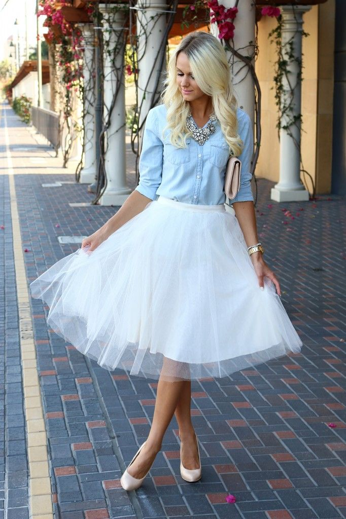 tulle skirt | denim shirt | Fashion blogger