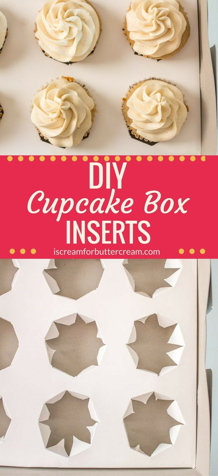 These DIY Cupcake Box Inserts are so easy to make. If you ever have trouble transporting cupcakes, these inserts will keep them from toppling over. They're inexpensive to make and you can virtually use any box you have. #cupcakeinserts #bakinghacks
