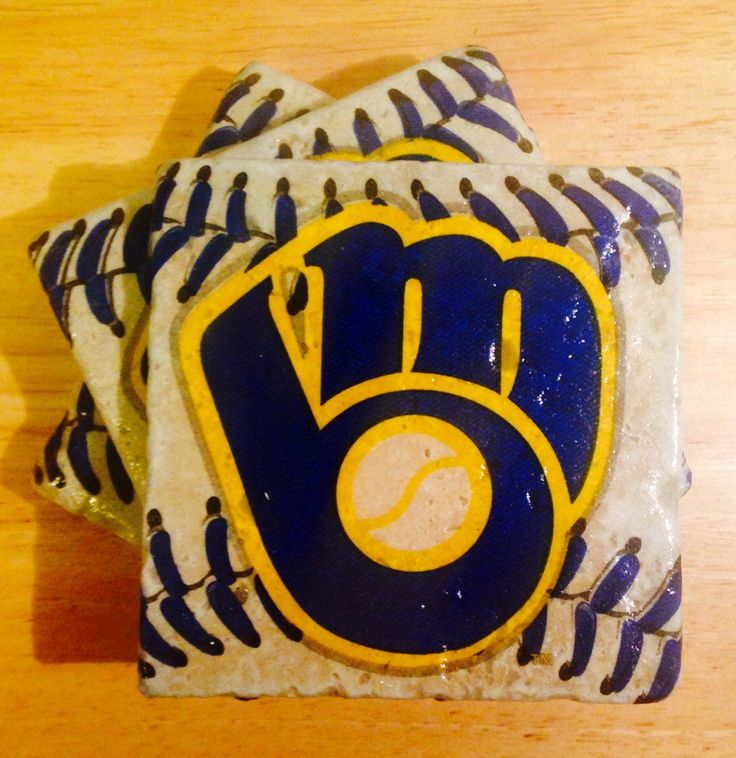 Free Shipping ~ Set of 4 Milwaukee Brewers Coasters ~  Stone Coasters ~Coasters ~ Natural Stone Tile Coasters ~ Baseball Coasters ~  by PiperLeaBoutique on Etsy https://www.etsy.com/listing/226564921/free-shipping-set-of-4-milwaukee-brewers