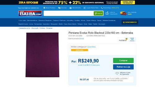 [Casas Bahia] Persiana Evolux Rolo Blackout 220x160 cm - Beterraba por R$ 224,91