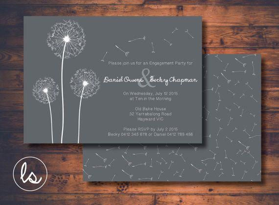 DIY PRINTABLE ~ Dandelion ~ Engagement Invitation ~ Grey Wedding Invitation ~ Wedding Invitation ~ Printed Invitations