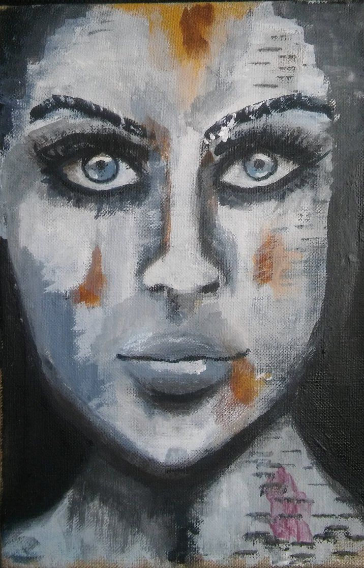 #Ladyinblack by MagdalenaaM.deviantart.com on @DeviantArt  #acrylic #watercolour #artwork #female #abstract #weekly #challenge