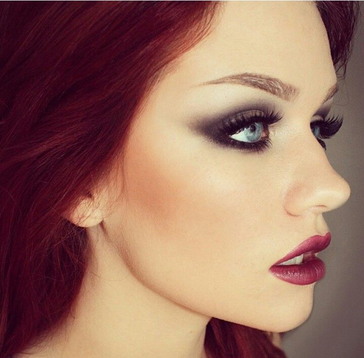 For the redheaded blue eyed beauty in my life. I love this charcoal and navy smokey eye and plum lips. Love love love!
