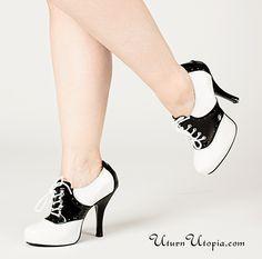 White & Black Two Tone Saddle Shoes /Pin Up/Rockabilly/Retro [SAD48/B-W] - $47.95 : Uturn Utopia, Retro footwear, Rockabilly Shoes, Vintage Inspired Clothing, jewelry, Steampunk