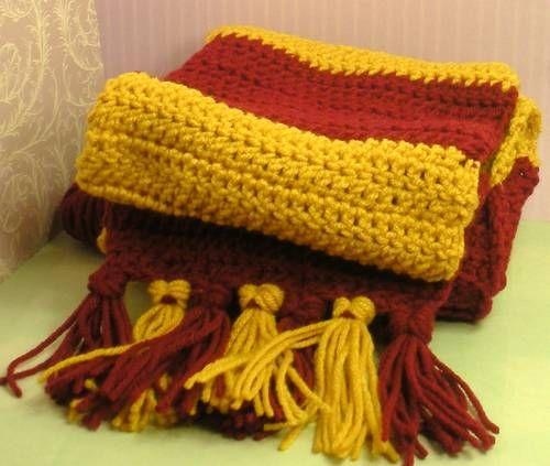Harry Potter Gryffindor Scarf With Tassels Crochet
