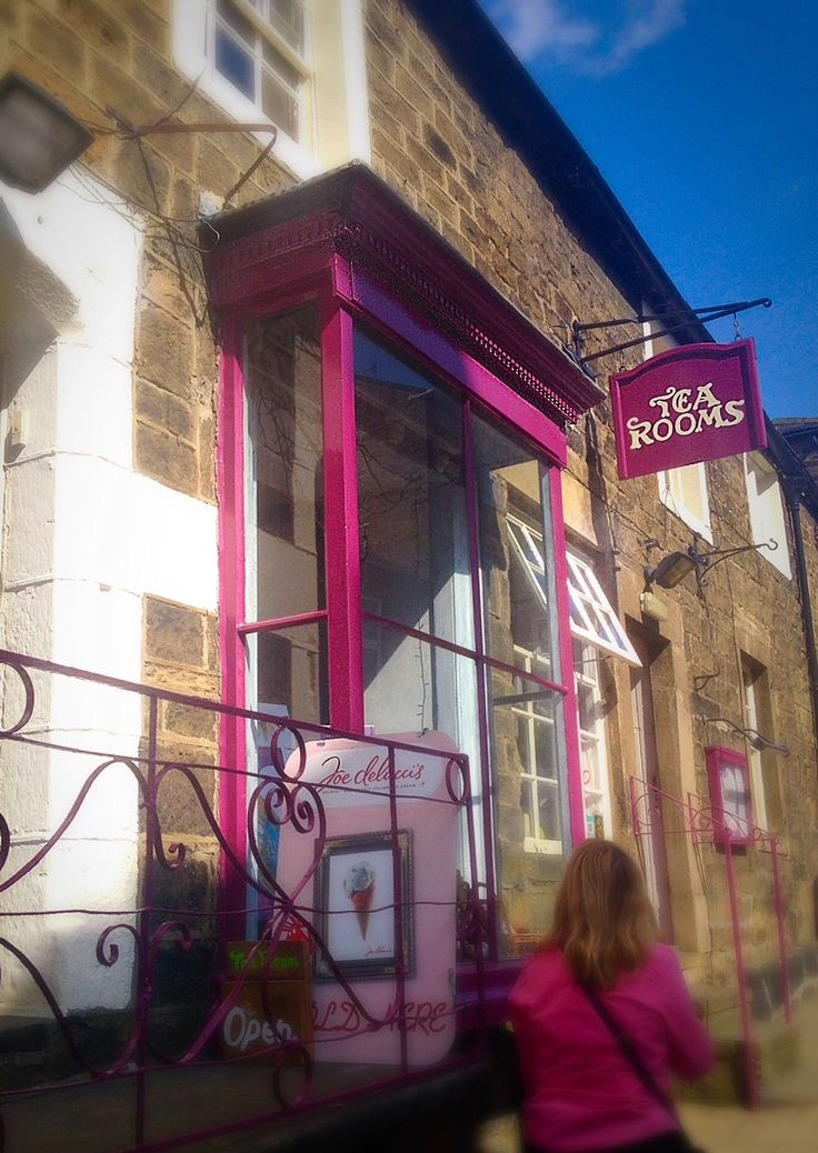 Rasberry pink Coloured Traditional shop front and sign - Pateley Bridge, Yorkshire