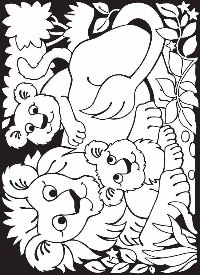 moeder leeuw haar welpen kleurplaten dieren