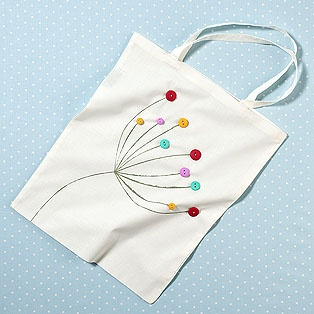 cute dandelion and button tote bag tutorial - easy and eco friendly!