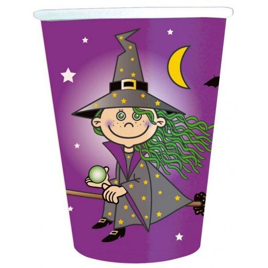 8 stuks heksen feestje bekers. Inhoud van de heksen bekers is 250 ml. Materiaal: papier/karton.