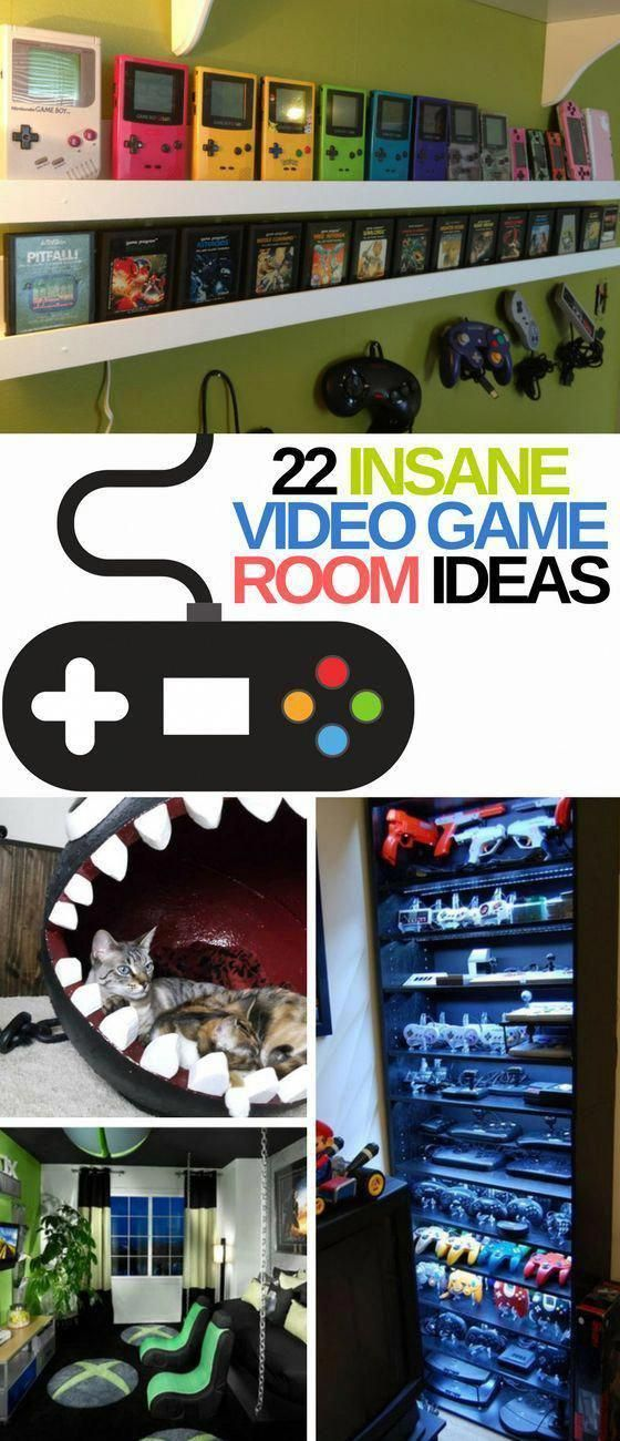 These 22 Video Game Room Ideas Are INSANITY! Who knew that a gamer's room could look SO GOOD! Definitely re-pinning for later. #Kidsroomideas #gameroo…