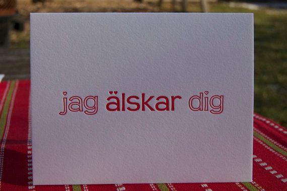 Letterpress Swedish Greeting Card I love you Jag by fiorepress, $5.00
