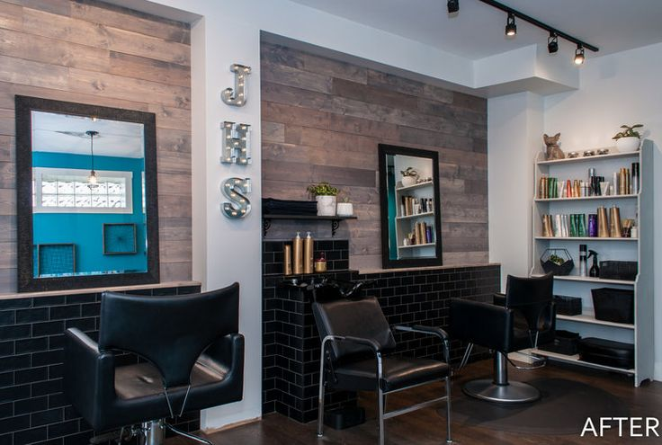Hair salon renovation with details like a wood plank wall and black subway tile.