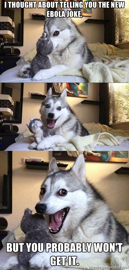 Pun Husky - I thought about telling you the new ebola joke, but you probably won't get it.